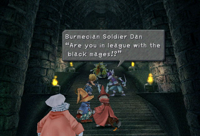 Burmecian Soldier Dan confronts Zidane and the Party